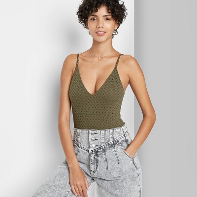 Women's Eyelet Tank Bodysuit - Wild Fable™