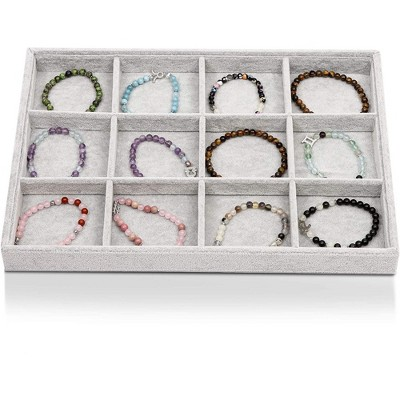 "Juvale Stackable Velvet Jewelry Display Tray 12 Grid Ring Earring Bracelet Showcase Organizer Storage Holder, Gray 13.5""x9.5"""