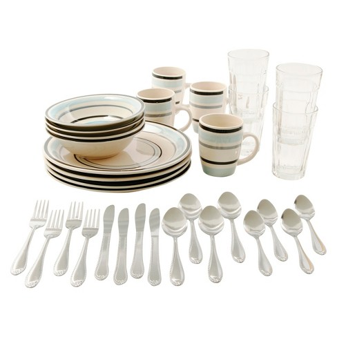 Gibson Deluxe Essentials 32pc Dinnerware Combo Set White/Blue - image 1 of 1