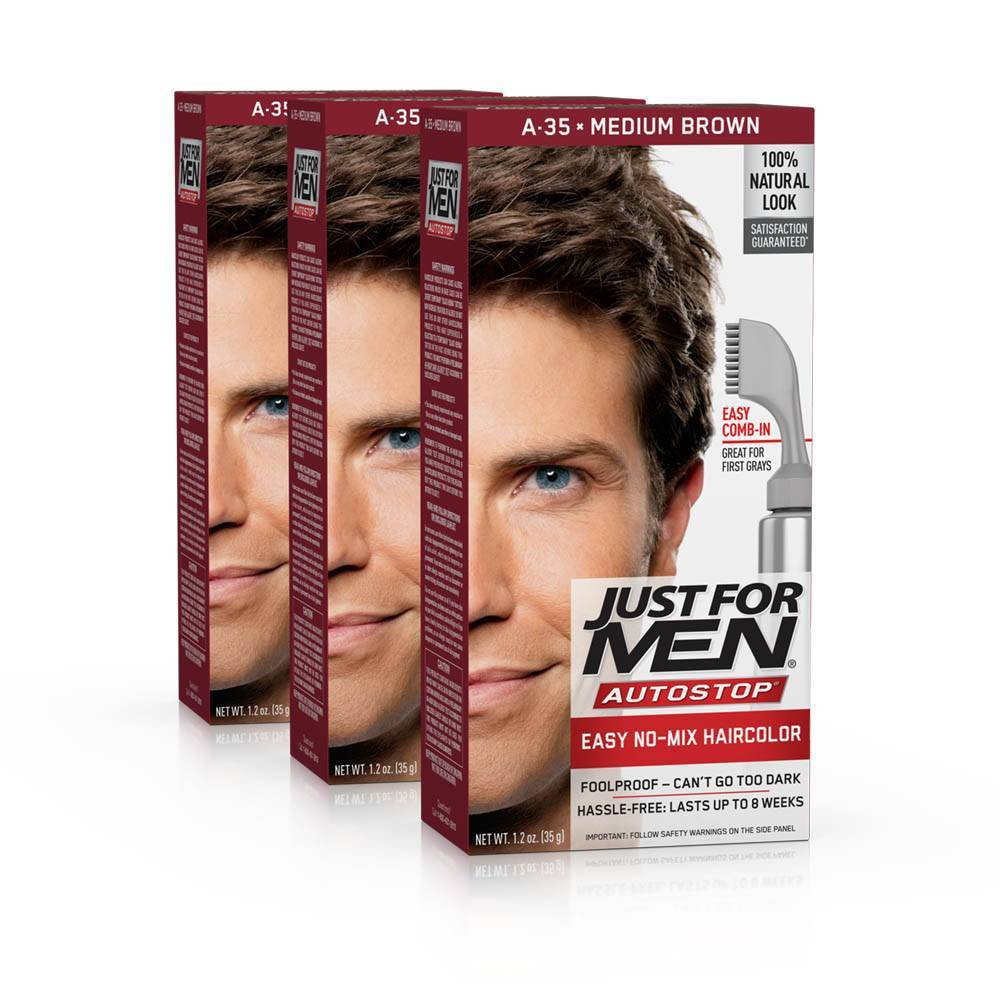 Image of Just For Men Auto Stop Medium Brown Permanent Hair Color - 3pk