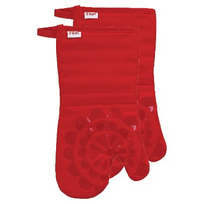 Red Medallion Silicone Oven Mitt 2 Pack (13 x13 )T-Fal