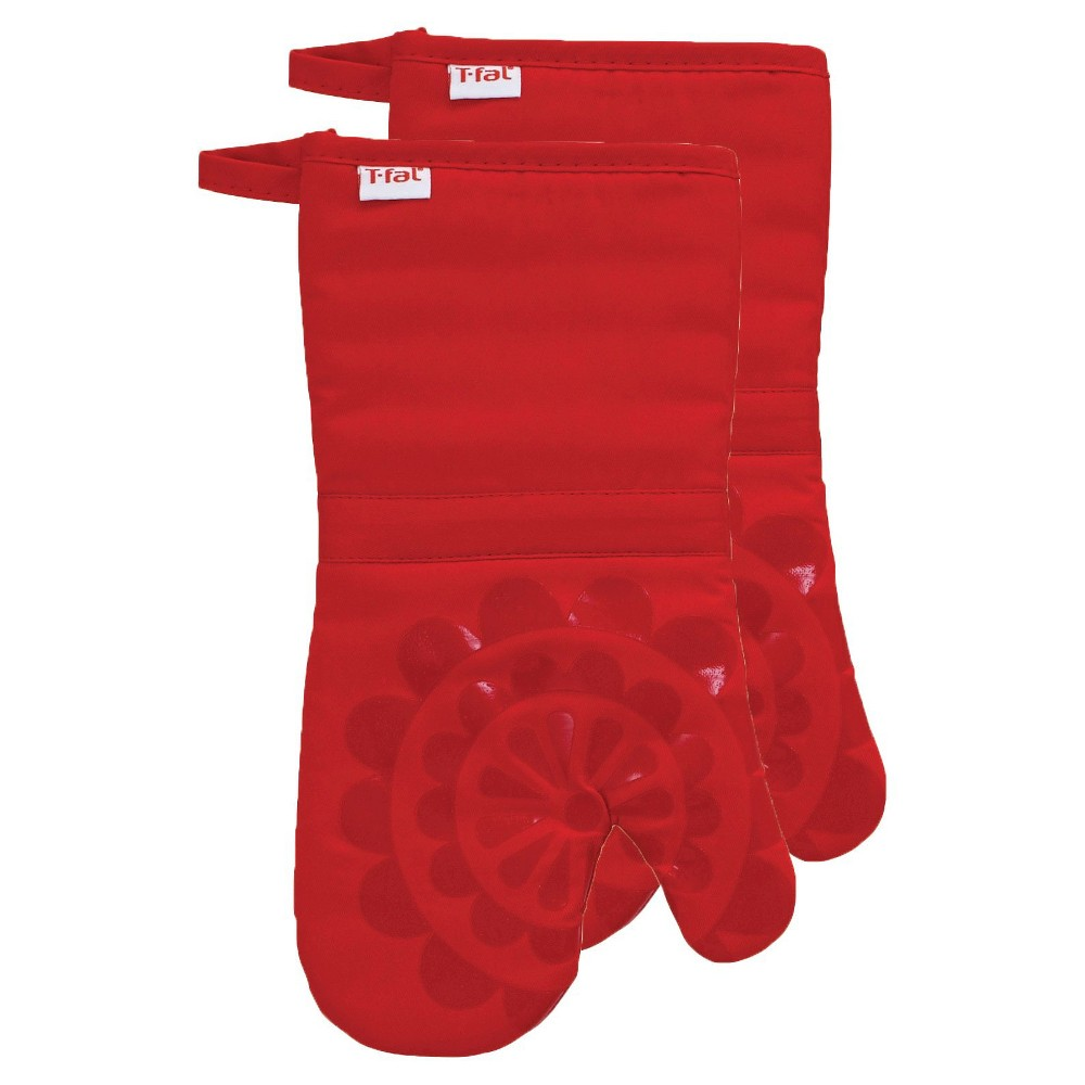 "Image of ""Red Medallion Silicone Oven Mitt 2 Pack (13""""x13"""") T-Fal"""