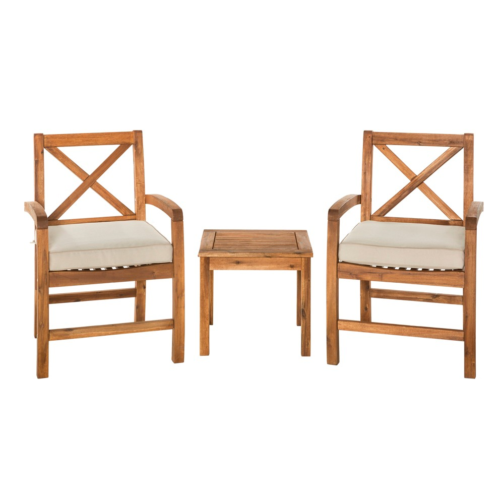 Image of 3pc Acacia Wood Patio Chairs and Side Table with Cross Design Brown - Saracina Home