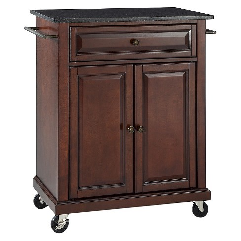 Solid Black Granite Top Portable Kitchen Cart/Island - Crosley - image 1 of 6