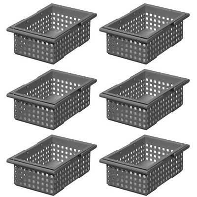 Like-It  Stacking Plastic Storage Organizer Basket Tote, Gray (6 Pack)