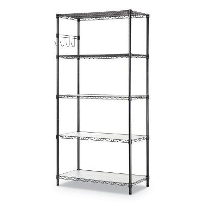 "Alera 5-Shelf Wire Shelving Kit 5 Shelves 36"" x 18"" x 72"" Black Anthracite SW653618BA"