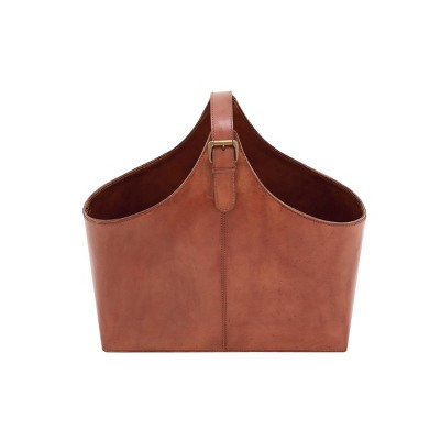 """14"""" x 16"""" Traditional Leather Magazine Holder with Belt Strap Handle - Olivia & May"""