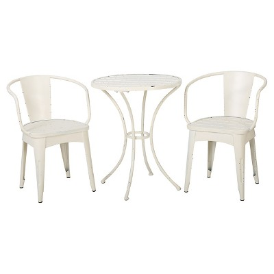 Colmar 3pc Cast Iron Patio Bistro Set - Shabby White - Christopher Knight Home