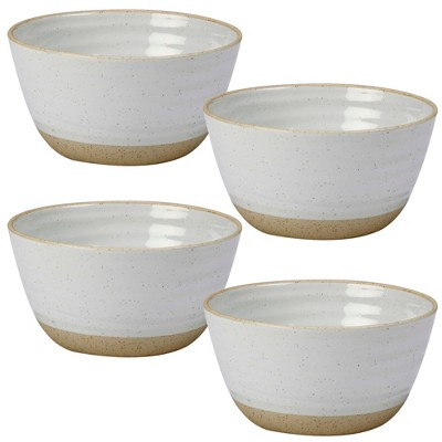 Certified International Artisan Ceramic Dessert Bowls 28oz White/Brown - Set of 4