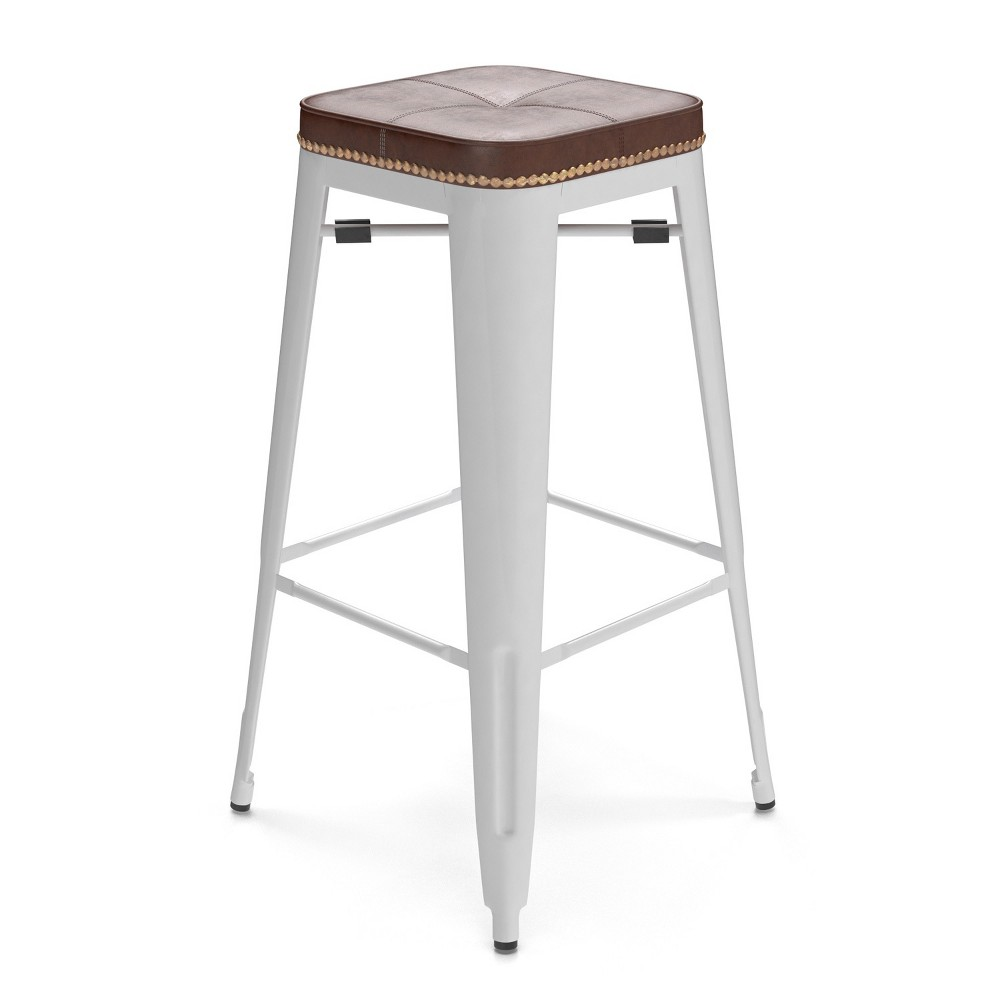 "Image of ""30"""" Griffin Backless Barstool Set of 2 White - Aeon"""
