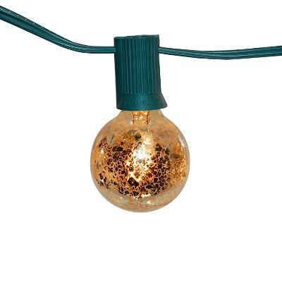25 Lights Mercury Electric Globe String Lights Gold