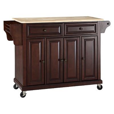 Natural Wood Top Kitchen Cart/Island - Vintage Mahogany - Crosley