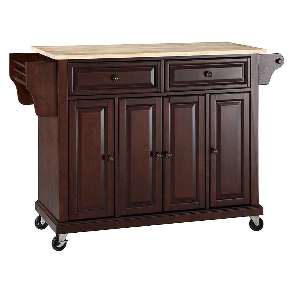 Natural Wood Top Kitchen Cart Island Vintage Mahogany Crosley