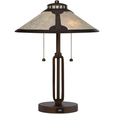 Franklin Iron Works Mission Desk Table Lamp with Hotel Style USB Charging Port Industrial Rubbed Bronze Natural Mica Shade for Bedroom Office