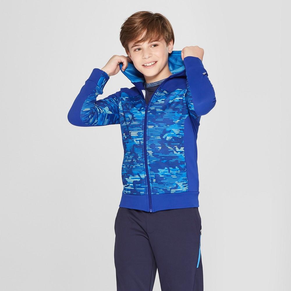 Boys' Printed Tech Fleece Full Zip Hoodie - C9 Champion Blue Camo Print XS