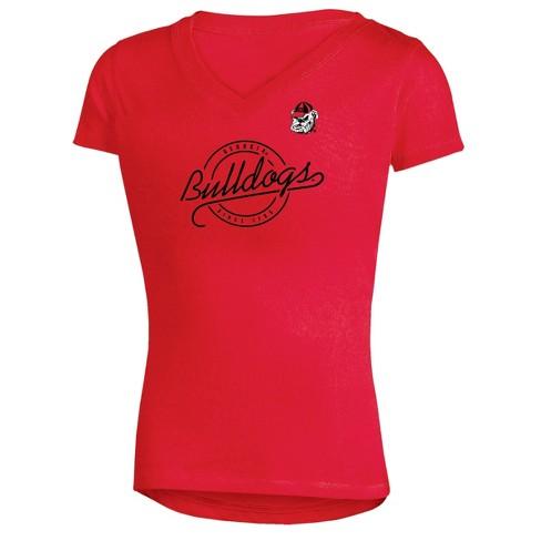 Georgia Bulldogs Girls' Short Sleeve Puff Print V-Neck Tunic T-Shirt - image 1 of 1