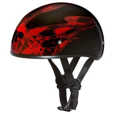 Daytona D6-SFR-L Helmets Secure Slim Protective Motorcycle Half Helmet Skull Cap with Adjustable Chin Strap, Head Wrap, & Drawstring Bag, Red Flames