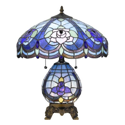 """19.33"""" - Tiffany Resin Mission Design Table Lamp with Hand Cut Glass Shade (Includes Light Bulb) Dark Brown - Cal Lighting"""
