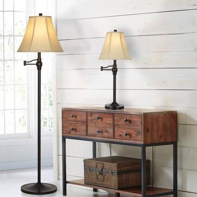"57.5"" Swing Arm Floor Lamp Bronze  - Cresswell Lighting"
