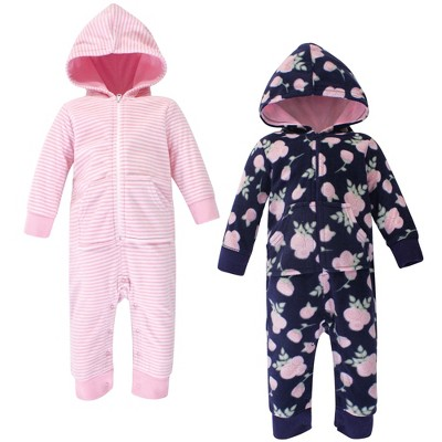 Hudson Baby Infant Girl Fleece Jumpsuits, Coveralls, and Playsuits 2pk, Navy Rose