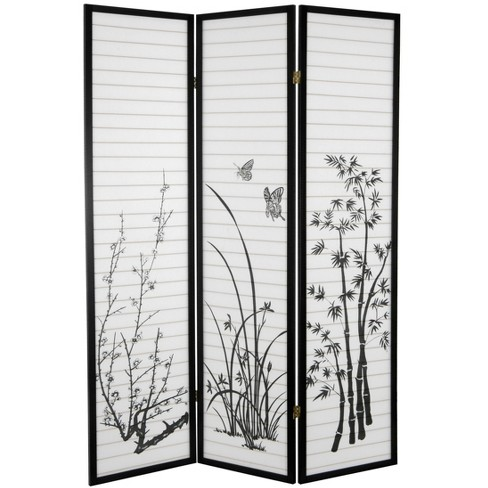 Oriental Furniture 6 Tall Bamboo And Blossoms Room Divider 3 Panels Black Target