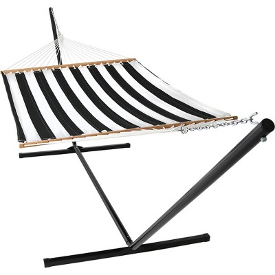 Quilted Double Fabric Hammock with 15' Stand - Black/White Stripe - Sunnydaze Decor