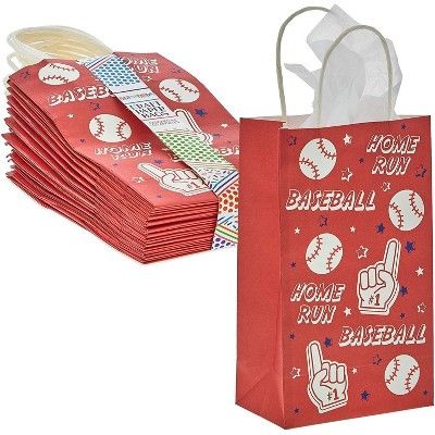 Blue Panda 24-Pack Baseball Party Favor Gift Bags with Handles (Red, 5.3 x 9 x 3.15 in)