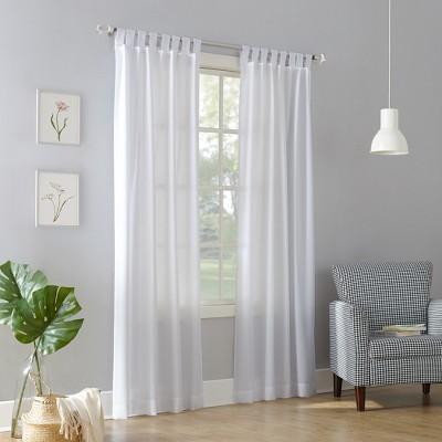Joshua Semi-Sheer Tab Top Curtain Panel White 40 x84  - No. 918