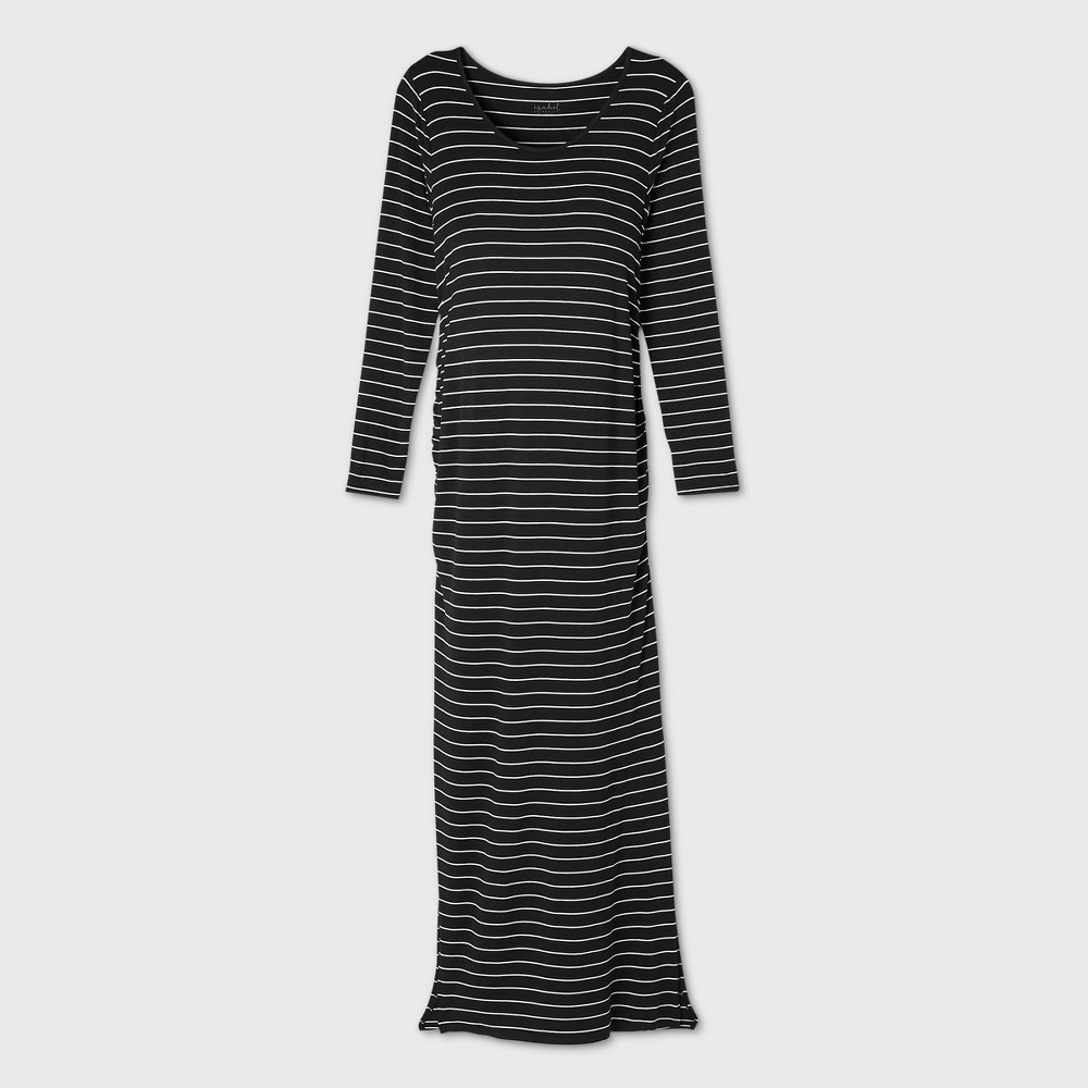 Striped Long Sleeve Fitted Maternity Dress Isabel Maternity By Ingrid 38 Isabel 8482 White Black Xl