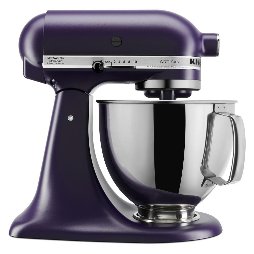KitchenAid Refurbished 5qt Artisan Stand Mixer Matte Black Violet - RRK150BV, Matte Black Purple