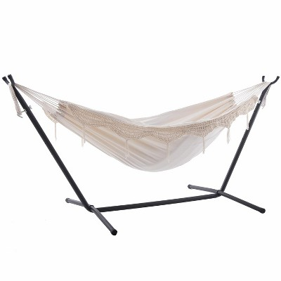 Vivere 9ft Double Cotton Hammock with Stand