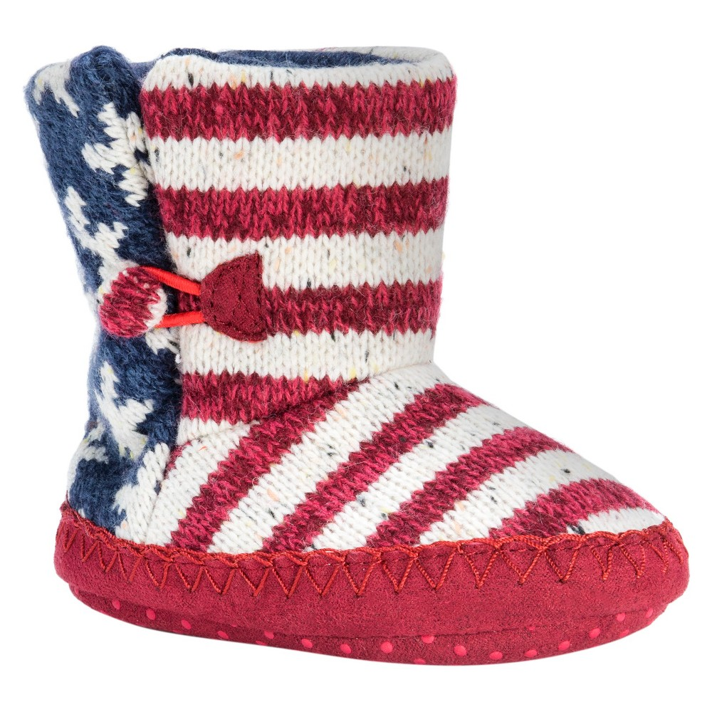 Baby Muk Luks Americana Print Knit Bootie Slippers - Red 18-24 M, Infant Unisex, Size: 18-24M