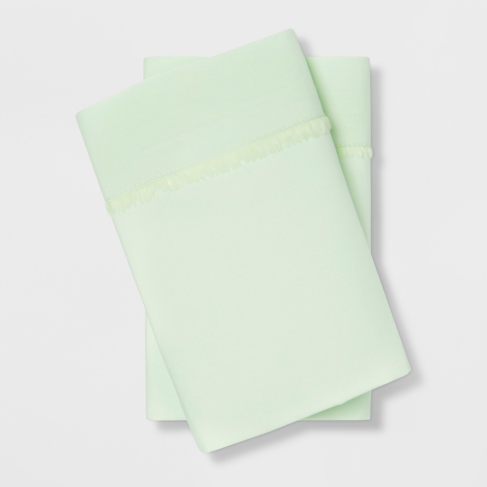 Image of Standard Cotton Percale Solid Pillowcase Set Mint - Opalhouse