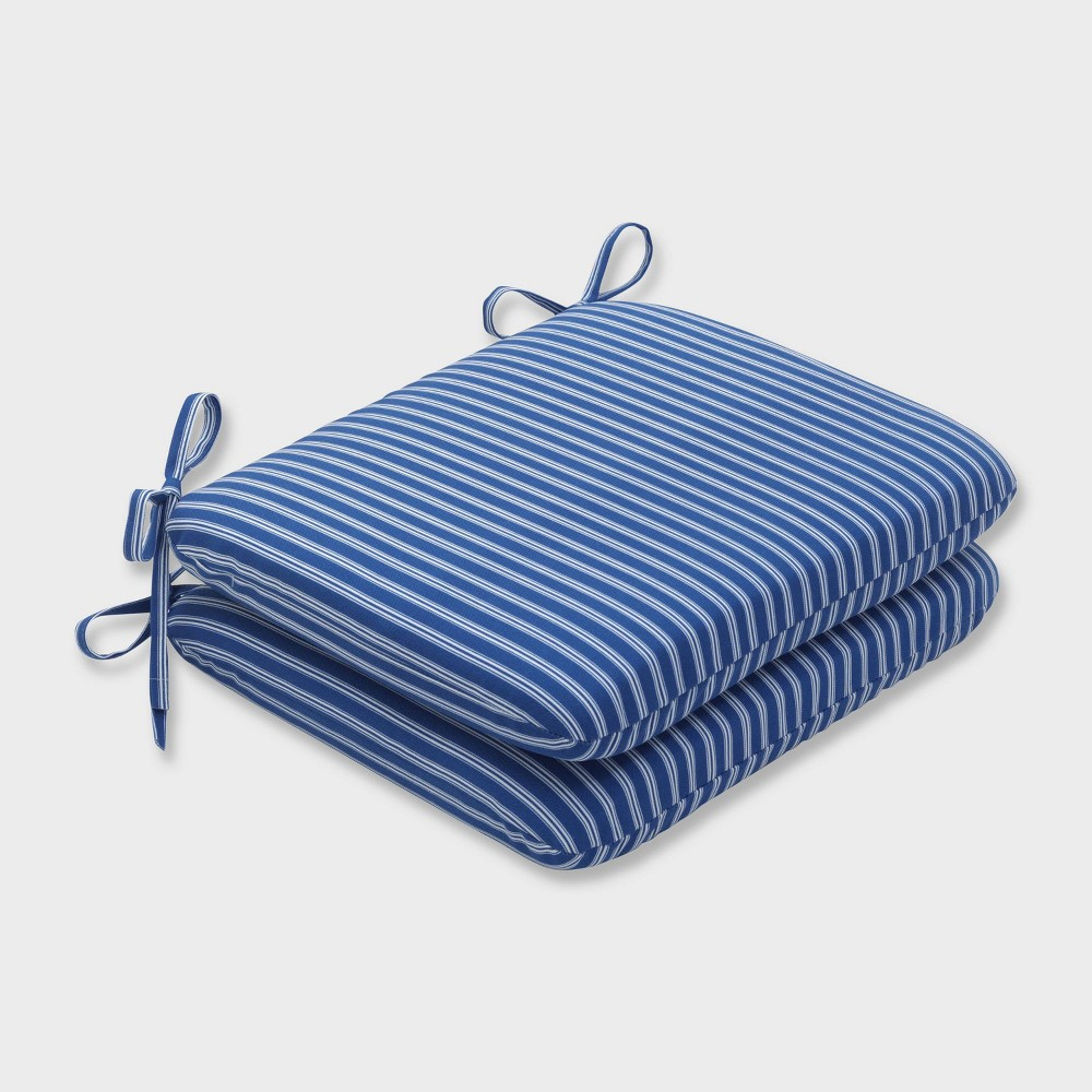 2pk Resort Stripe Rounded Corners Outdoor Seat Cushions Blue Pillow Perfect