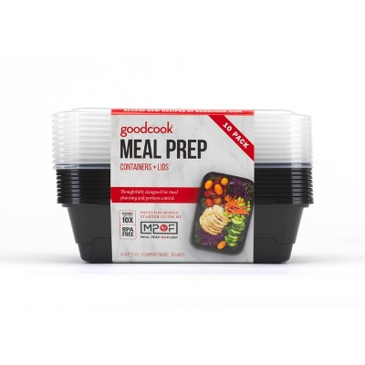 Good Cook Meal Prep Black Containers + Lids - 10ct