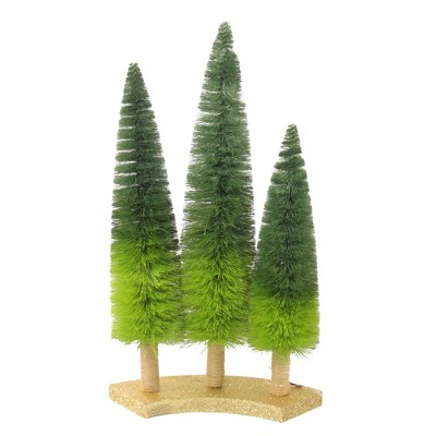 """Northlight 15.75"""" Ombre Green Sisal Tabletop Christmas Trees"""