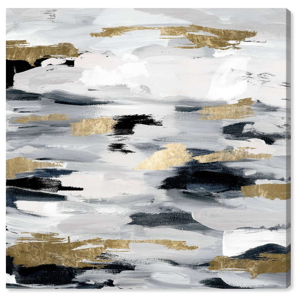 Image of 12'' x 12'' Smoke On The Water Night Unframed Wall Canvas Gray - Oliver Gal
