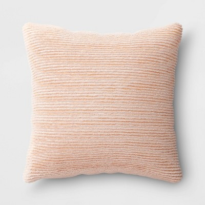 Oversized Square Ribbed Plush Pillow Blush - Room Essentials™