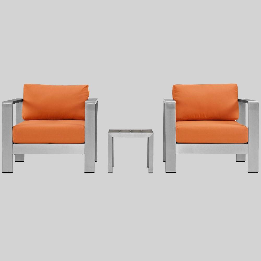 Shore 3pc Outdoor Patio Aluminum Chair Set - Orange - Modway