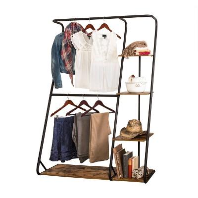 Honey-Can-Do Rustic Z-Frame Wardrobe Racks Brown