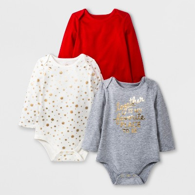 Baby Girls' 3pc Long Sleeve Together Bodysuit Set - Cat & Jack™ Gray/Red/Cream 6-9M