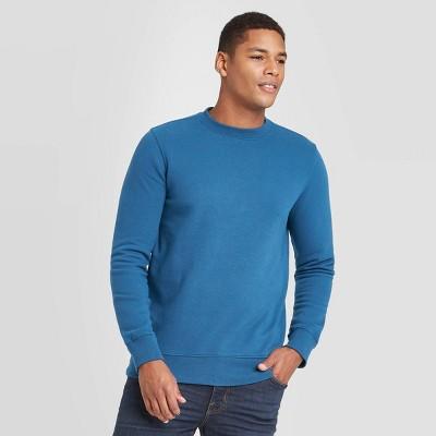 Men's Regular Fit Crew Fleece Sweatshirt - Goodfellow & Co™ Blue