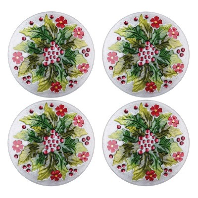 C&F Home Holly & Berry Glass Plate Set of 4