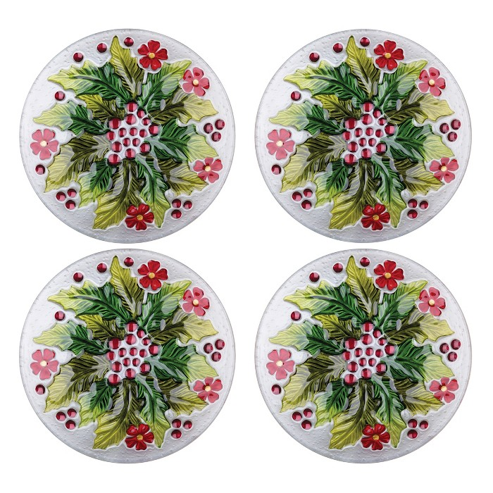 C&F Home Holly & Berry Glass Plate Set Of 4 : Target