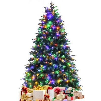 7ft Pre-Lit Snowy Christmas Hinged Tree 11 Flash Modes w/ 450 Multi-Color Lights
