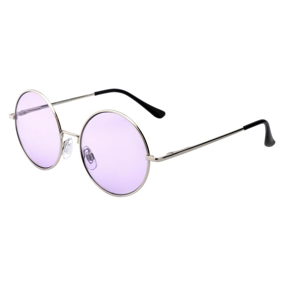 Women's Round Sunglasses - Silver, Shiney Silver