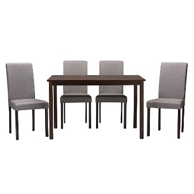 5pc Andrew Contemporary Dining Set Dark Brown/Gray - Baxton Studio
