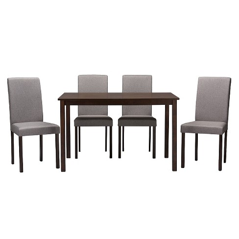 5pc Andrew Contemporary Dining Set Dark Brown Gray Baxton Studio Target