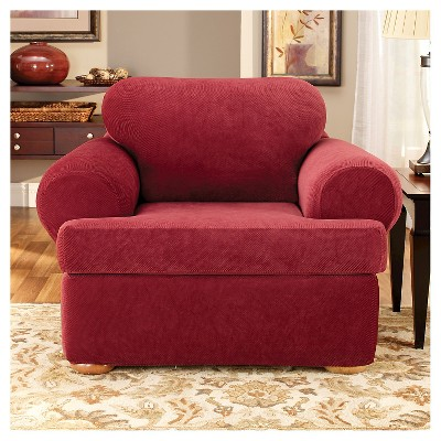 Stretch Pique 3 Piece Tchair Slipcover Garnet - Sure Fit, Red