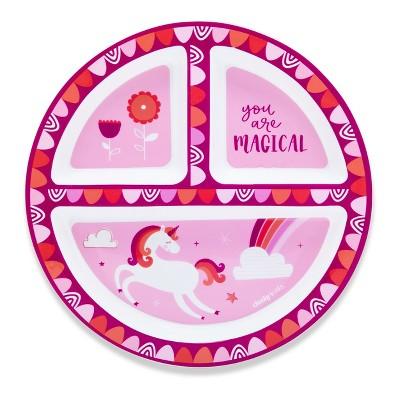 Cheeky Plastic Divided Kids Plate 8.3  Unicorn - Pink
